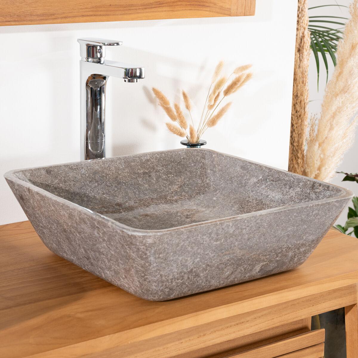 Wanda Collection Vasque carré à poser salle de bain carmen 40cm grise