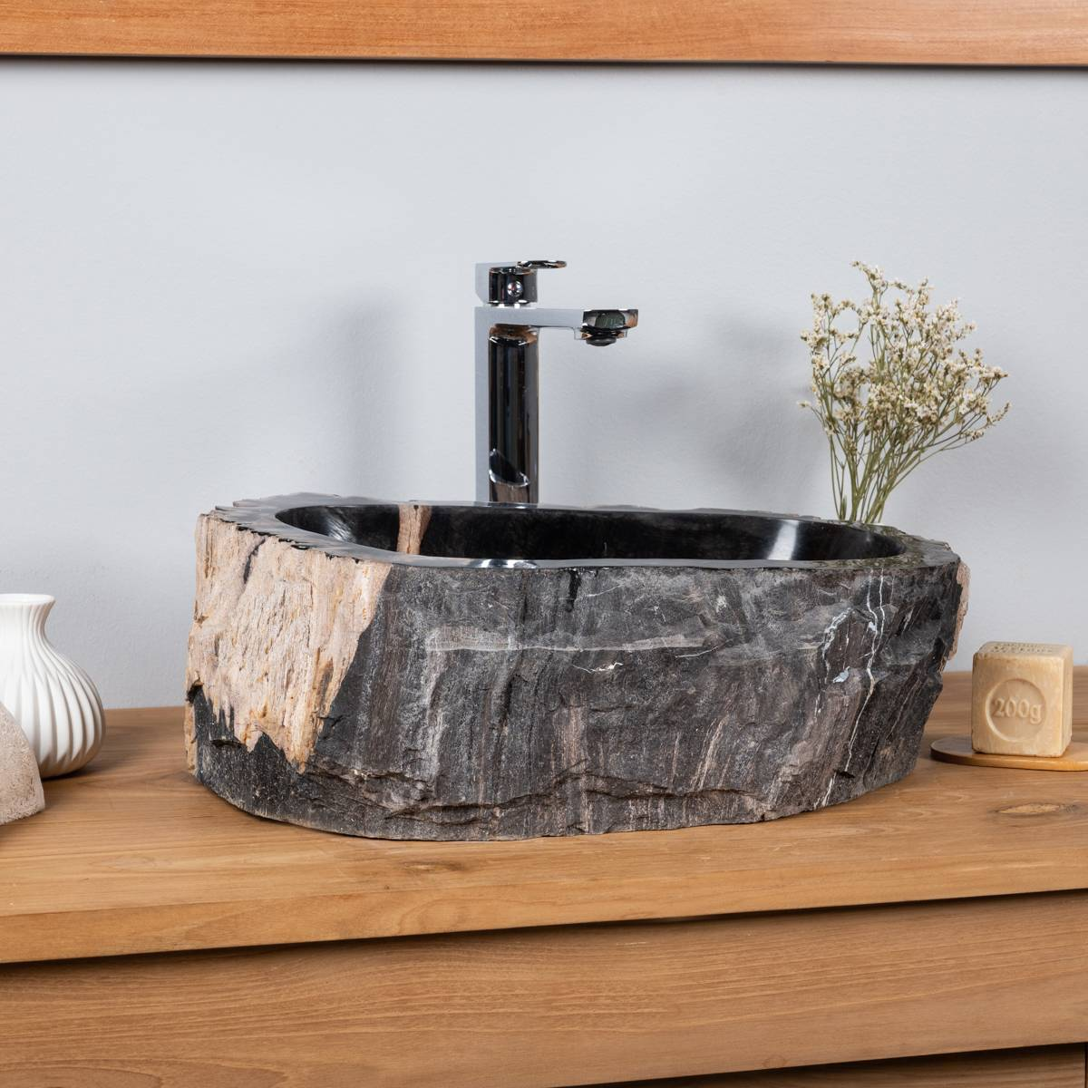 Wanda Collection Vasque de salle de bain à poser en bois pétrifié fossilisé intérieur noir 40 CM