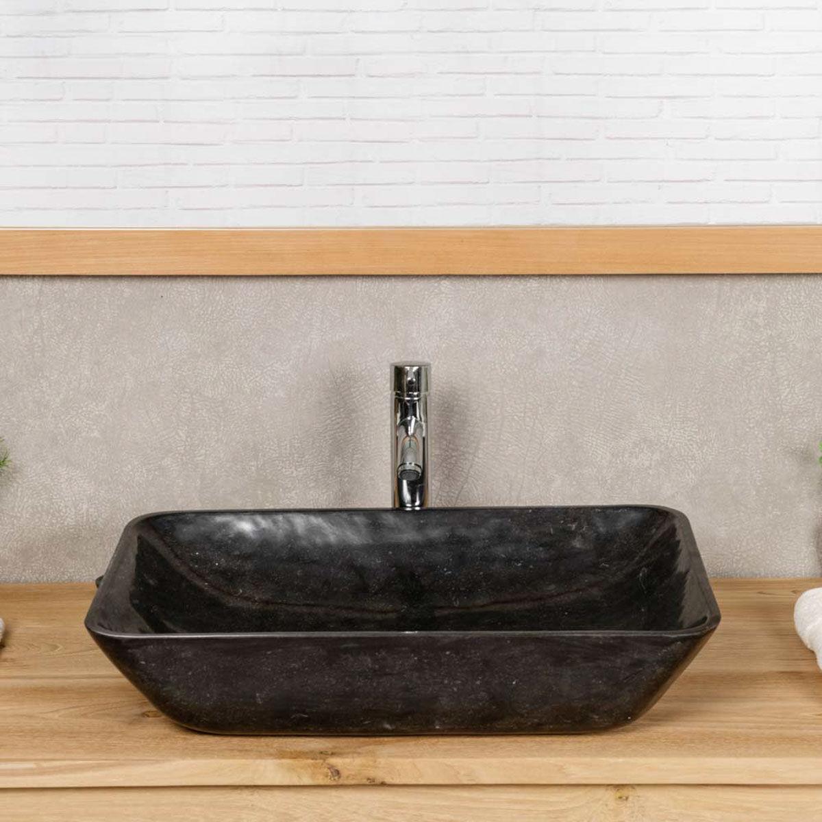 Wanda Collection Vasque de salle de bain à poser en marbre CARMEN 60 CM noir