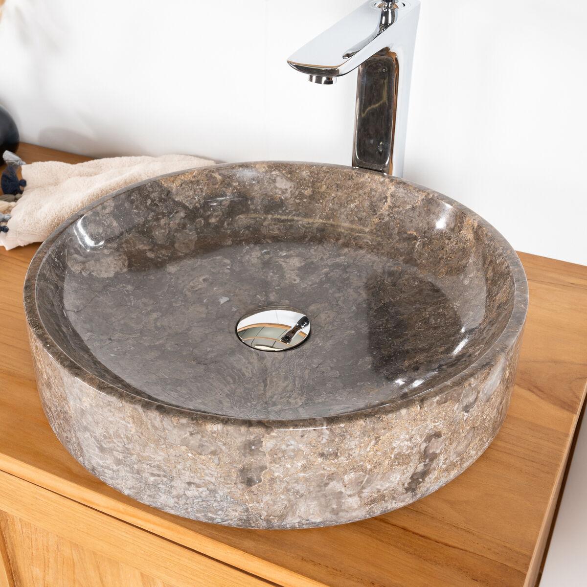 Wanda Collection vasque de salle de bain à poser en marbre Mino grise