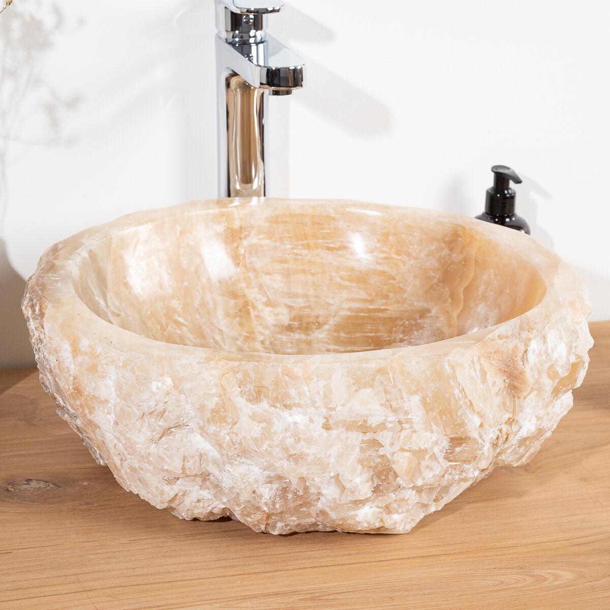 Wanda Collection Vasque de salle de bain à poser en pierre Onyx 40 - 45 cm