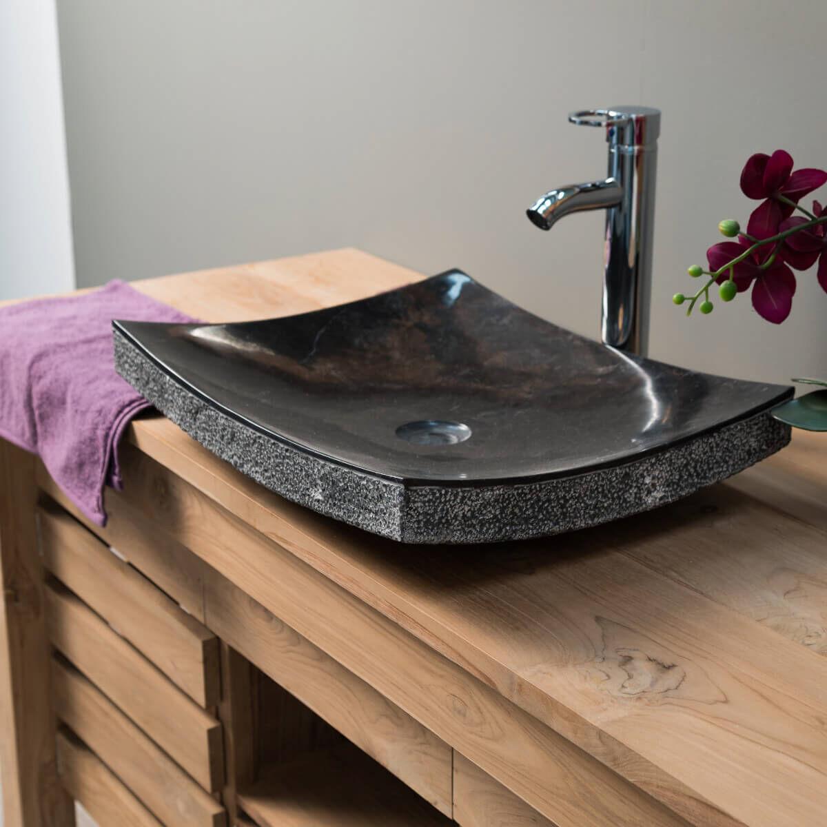 Wanda Collection Vasque de salle de bain à poser rectangle 50 cm en pierre marbre GENES noir