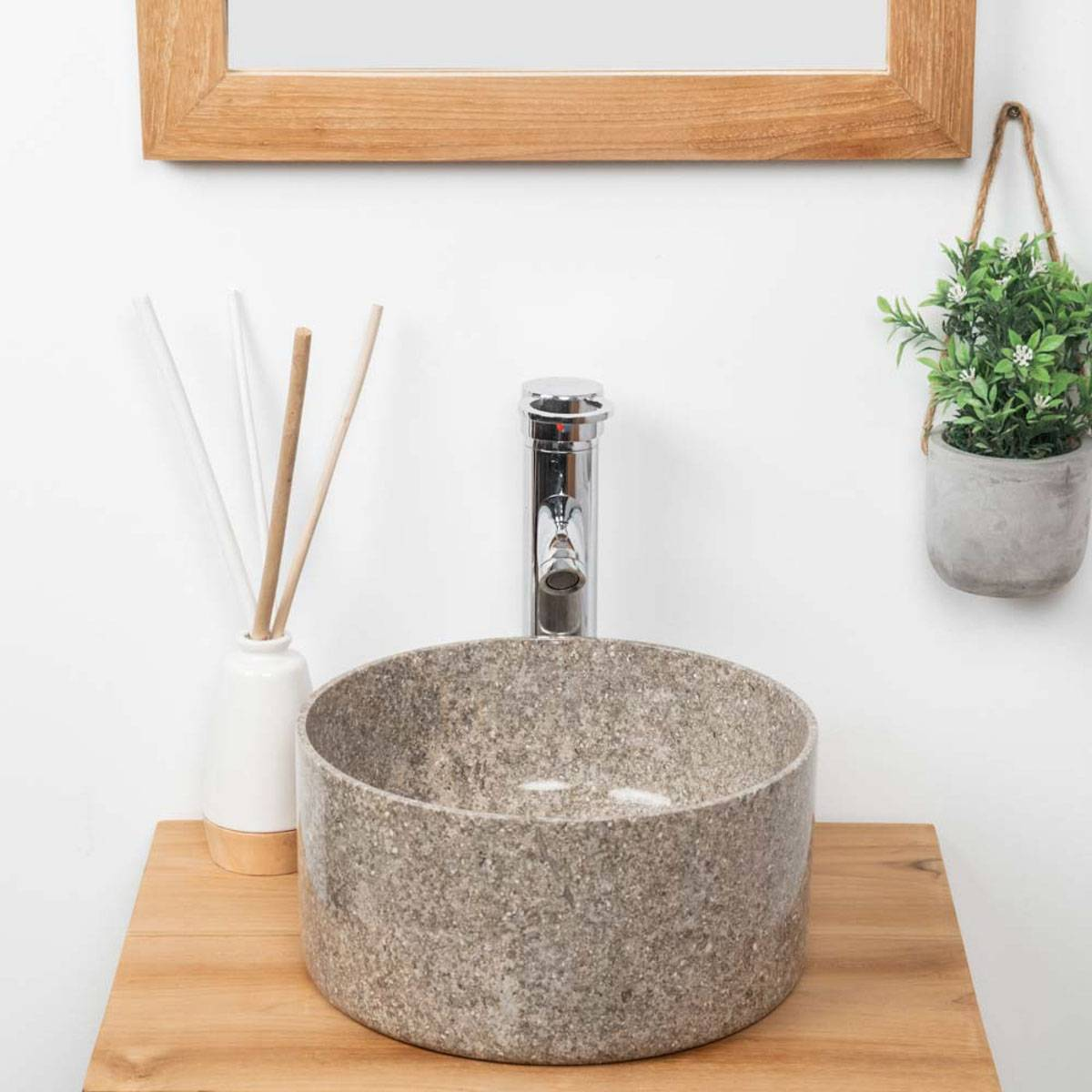 Wanda Collection vasque en marbre ronde pour salle de bain Ulysse 30 cm gris
