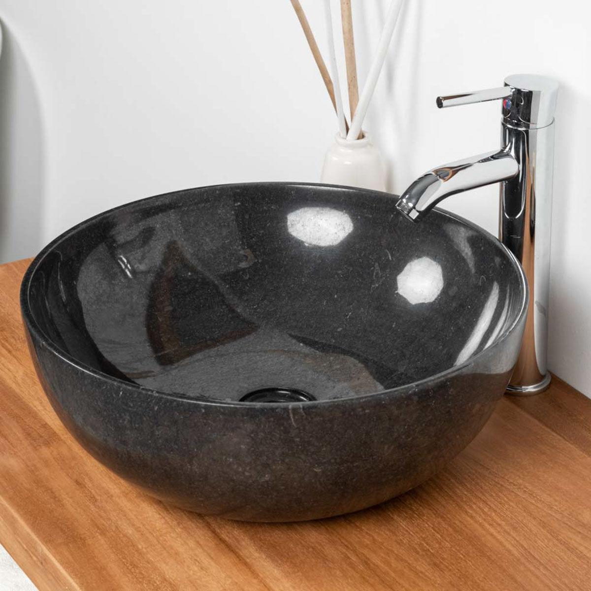 Wanda Collection vasque salle de bain à poser en marbre noir LEA 40 CM
