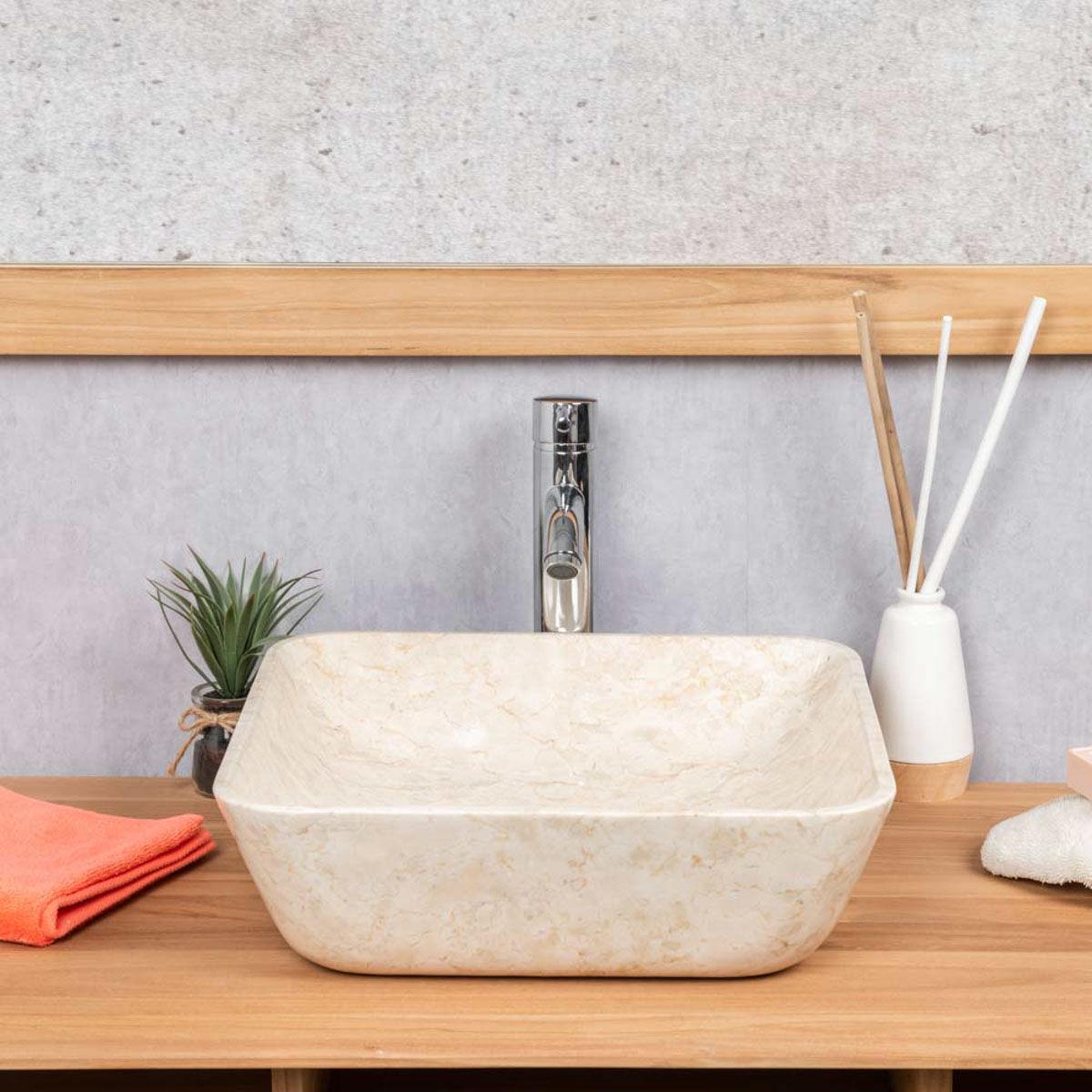 Wanda Collection vasque salle de bain carré en marbre Carmen 40 cm crème