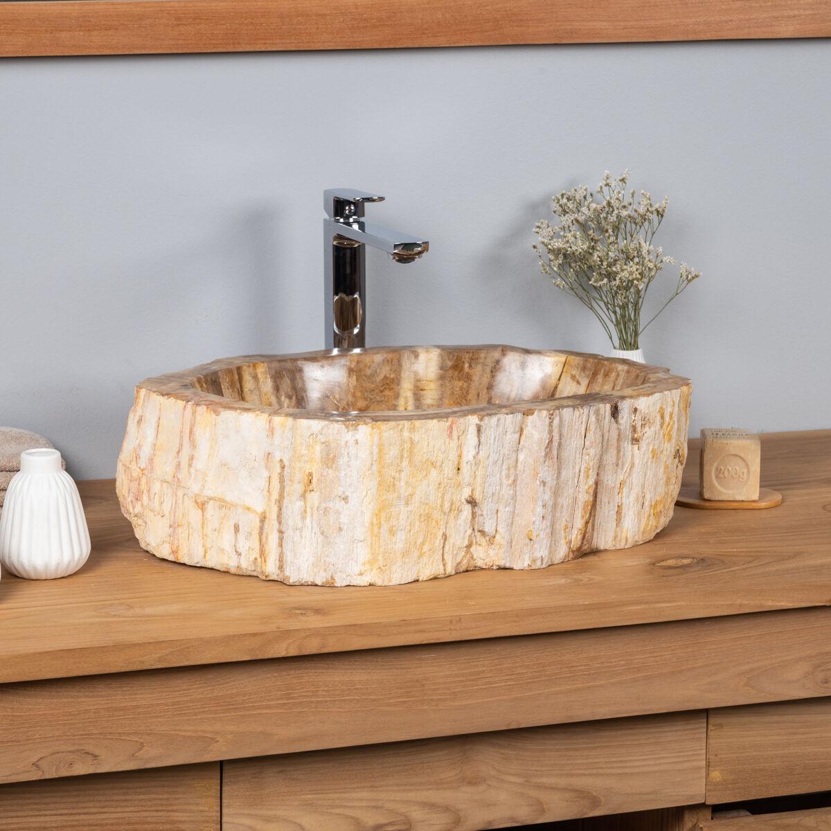 Wanda Collection Vasque salle de bain en bois fossilisé pétrifié à poser 53 cm