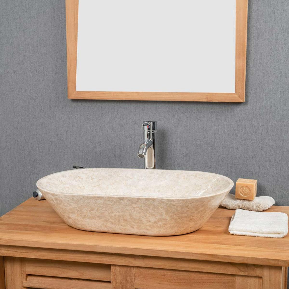 Wanda Collection Vasque Salle de bain en Marbre Eve crème 60 cm