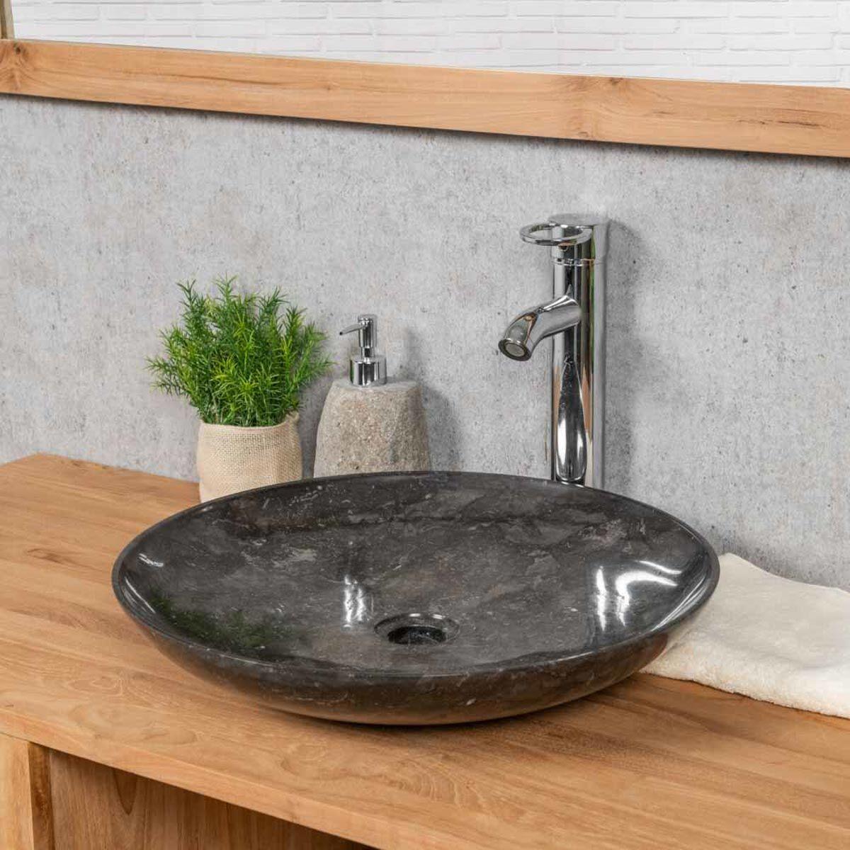 Wanda Collection Vasque salle de bain ronde à poser LYSOM 45CM noire