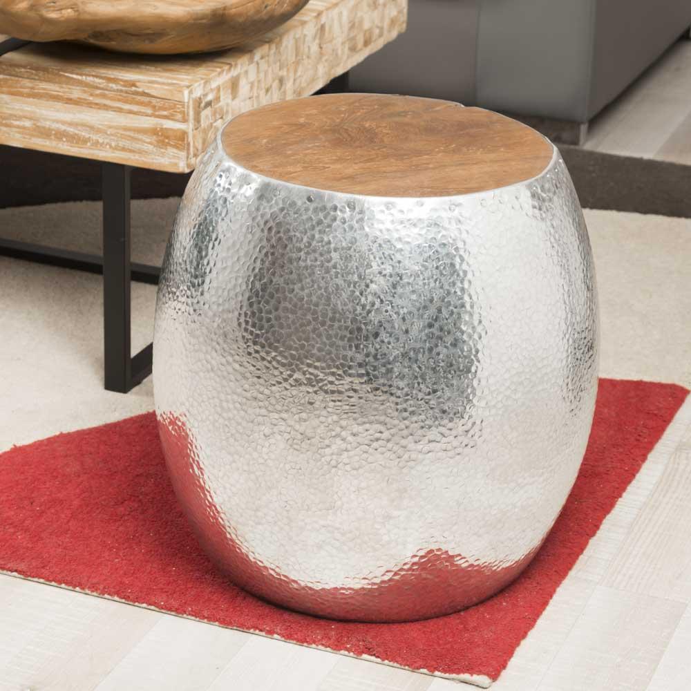 Wanda Collection Tabouret boule Aluminium martelé LODGE