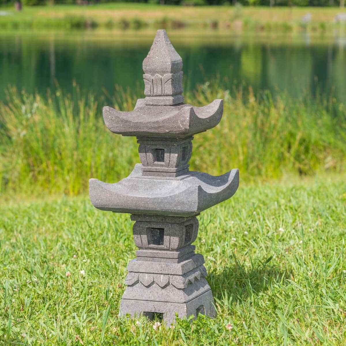 Wanda Collection Lanterne japonaise en pierre de lave 70cm