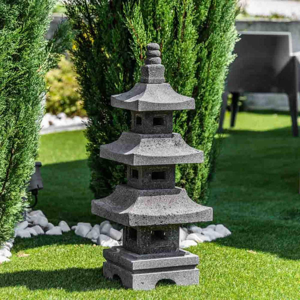 Wanda Collection Lanterne japonaise pagode en pierre de lave de 80 cm