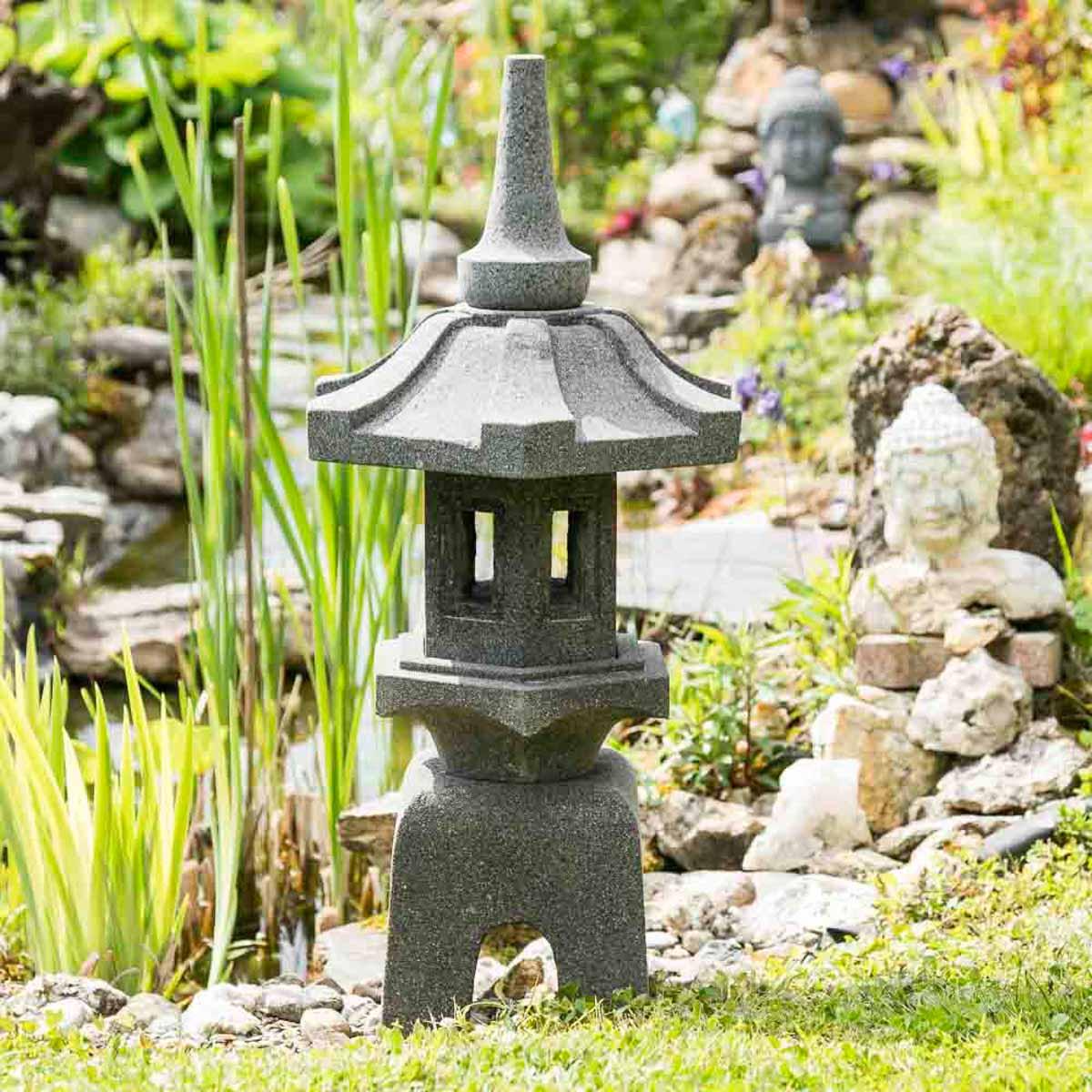Wanda Collection Lanterne japonaise pagode zen en pierre de lave 80 cm
