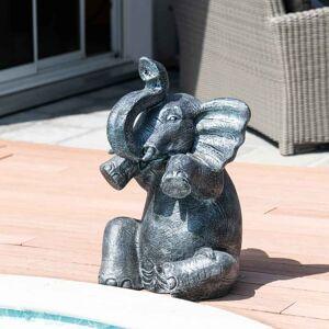 Wanda Collection Statue éléphant patiné gris assis 80 cm - Publicité