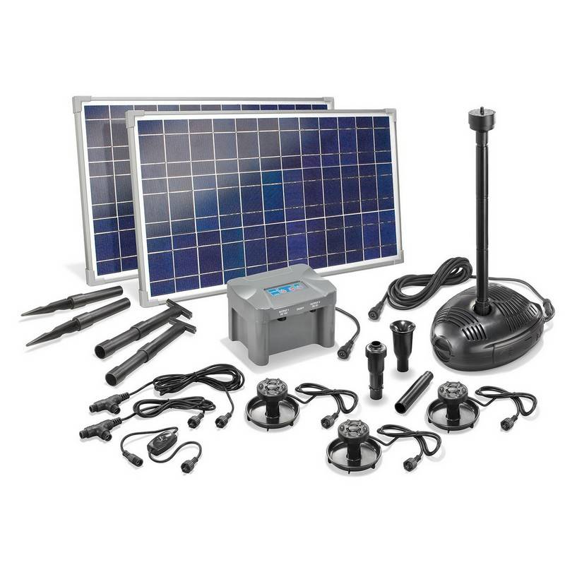 Esotec Kit pompe solaire bassin Genova Led, avec batterie et 3 spots led, 1700L-50W