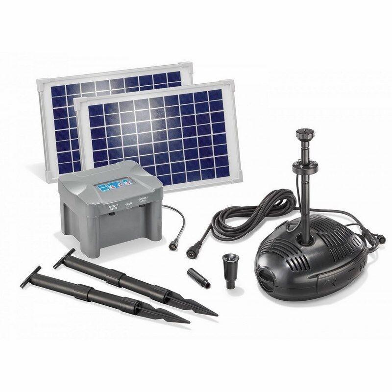 Esotec Kit pompe solaire bassin Milano Led 20W avec batterie
