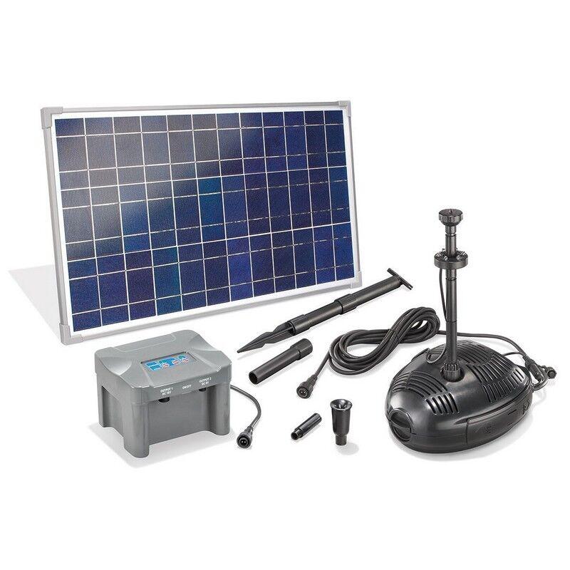 Esotec Kit pompe solaire bassin Roma Led, avec batterie et anneau led, 1300L-35W