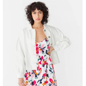 Veste en jean oversize Femme Blanc 36 - Publicité