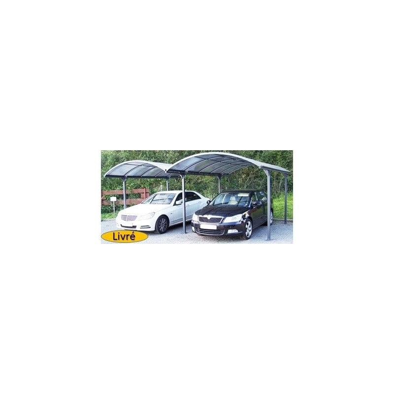 HABRITA Double Carport voiture ALUMINIUM 6x4,8M