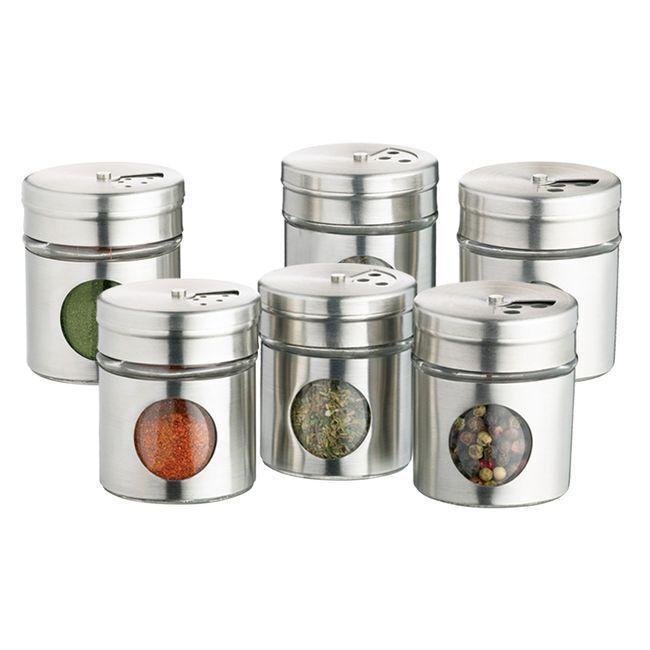 Kitchen Craft Lot de 6 pots à épices en inox