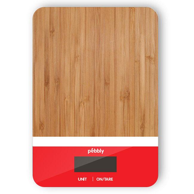 Pebbly Balance rectangulaire en bambou de 5 g à 5 kg - blanc/rouge