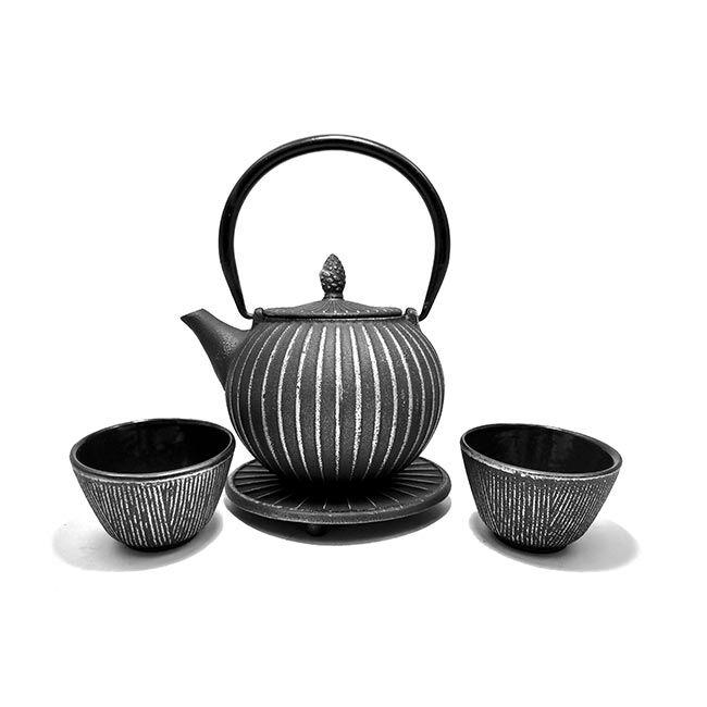 George Cannon Service à thé en fonte avec support - 0,85 L - Noir et argent