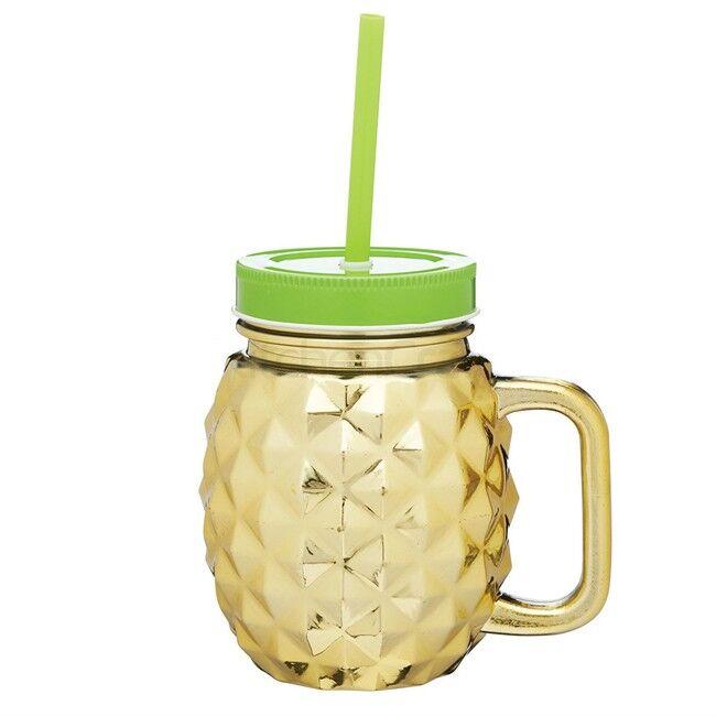 Kitchen Craft Tasse Ananas Mason Jar en verre