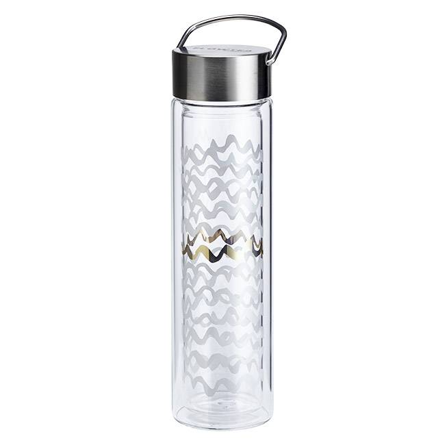 Eigenart Thermos en verre double paroi avec infuseur Flowtea Black & White - 40cl