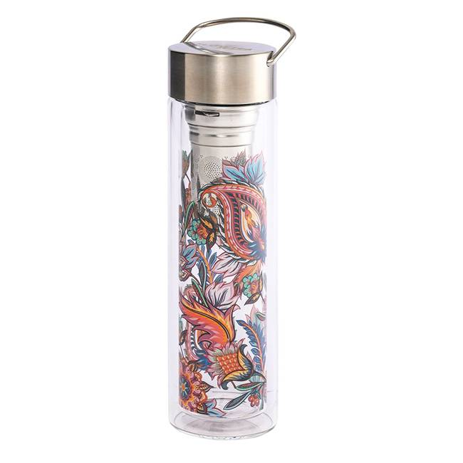 Eigenart Thermos en verre double paroi avec infuseur Flowtea Fireflower - 40 cl