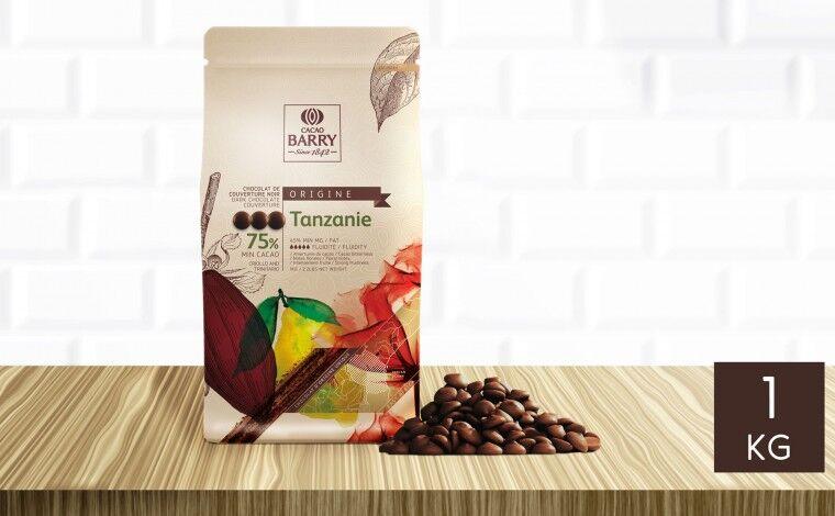 Cacao Barry Chocolat noir Tanzanie 75% pistoles 1 kg