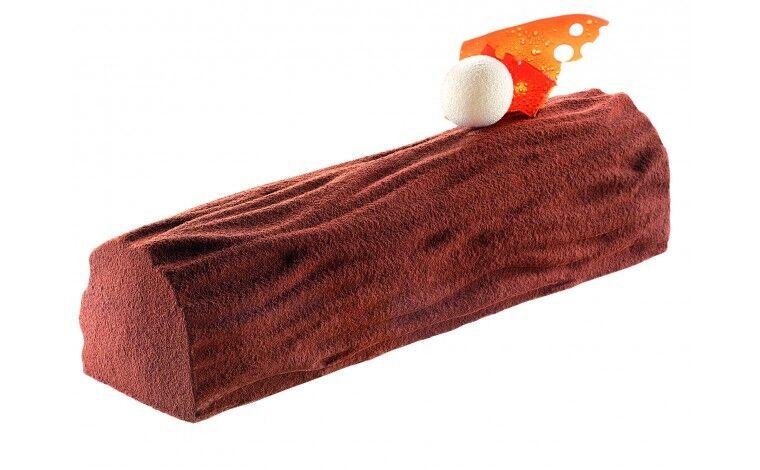Silikomart Kit moule à bûche + tapis décor Bois