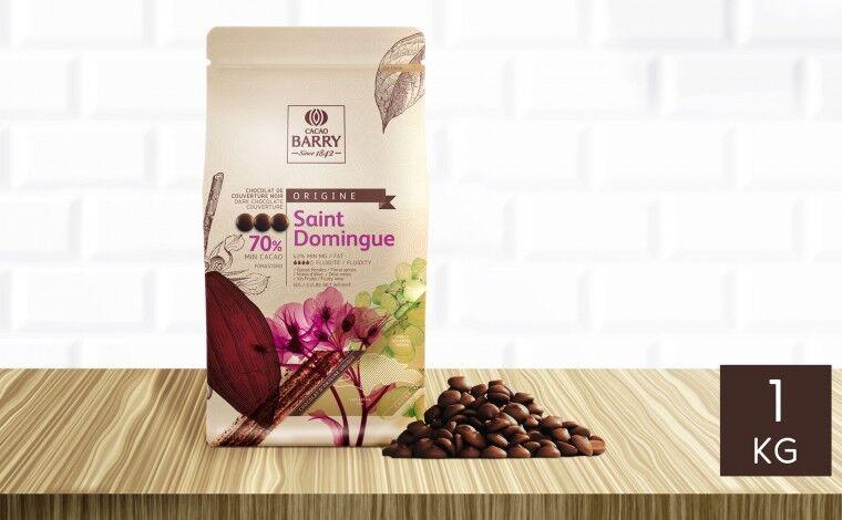 Cacao Barry Chocolat noir Saint Domingue 70% pistoles 1 kg