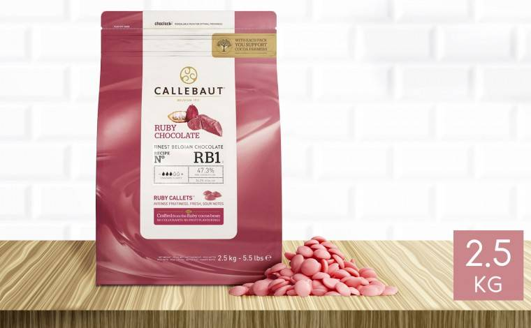 Callebaut Chocolat Ruby RB1 47% pistoles 2,5 kg