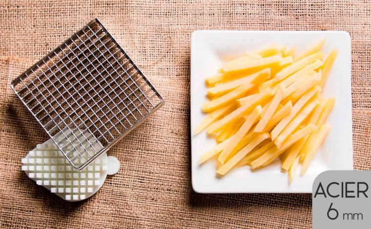 Tellier Kit couteau acier et poussoir (6x6 mm) pour coupe-frites