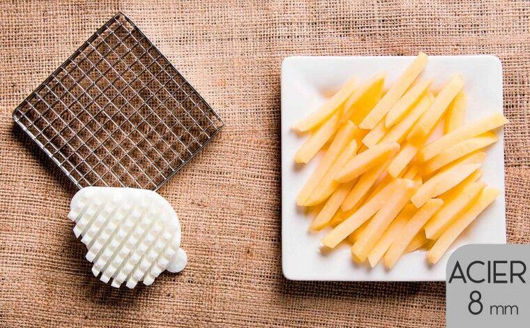 Tellier Kit couteau acier et poussoir (8x8 mm) pour coupe frites