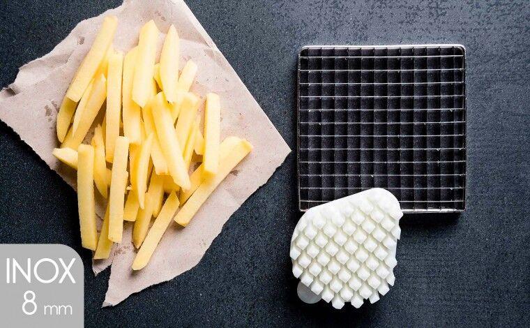 Tellier Kit couteau inox et poussoir (8x8 mm) pour coupe frites