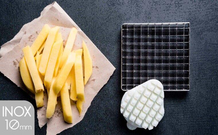 Tellier Kit couteau inox et poussoir (10x10 mm) pour coupe-frites
