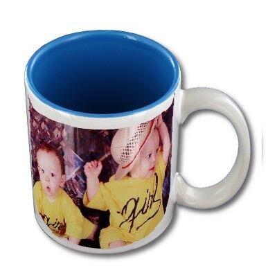 FotoCompil Mug personnalisable blanc intérieur bleu