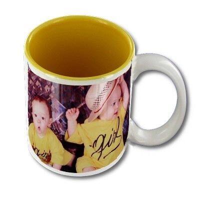 FotoCompil Mug personnalisable blanc intérieur jaune