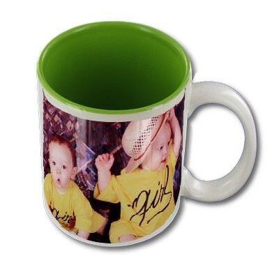 FotoCompil Mug personnalisable blanc intérieur vert