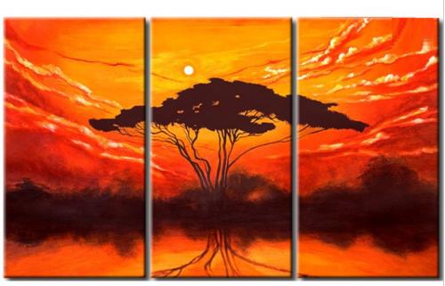 EVA JEKINS Tableau triptyque design Arbre soleil levant