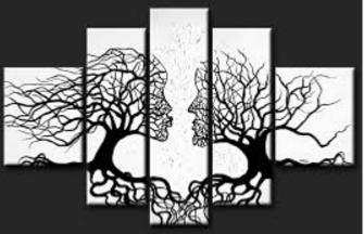 EVA JEKINS Tableau design Amour Arbres noir blanc