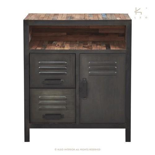 KLEO Buffet industriel 78 cm lokker 2 tiroirs 1 portes