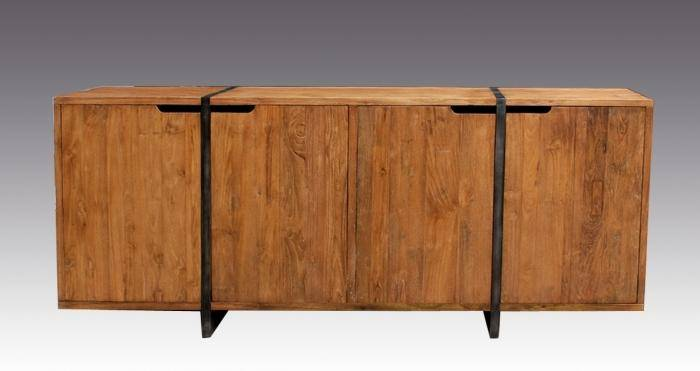 Walk Grand buffet elegant 200 cm design en teck ancien naturel 4 portes 2 tiroirs