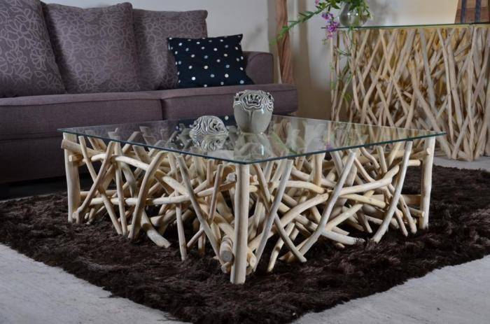 Walk Table basse branches teck carrée walk