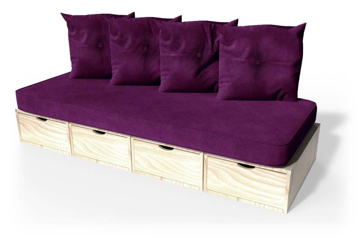 Abc meubles - banquette cube 200 cm + futon + coussins vernis naturel prune
