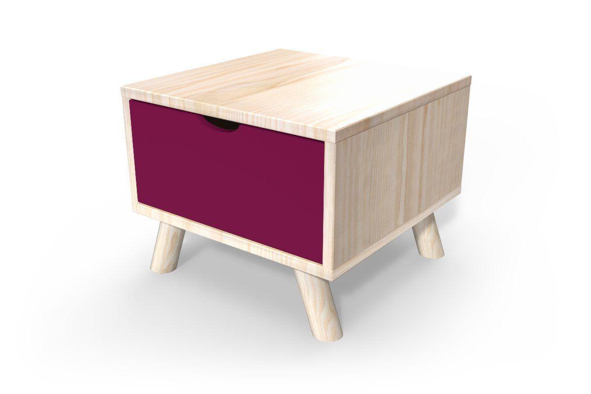 Abc meubles - chevet scandinave viking bois + tiroir vernis naturel/prune