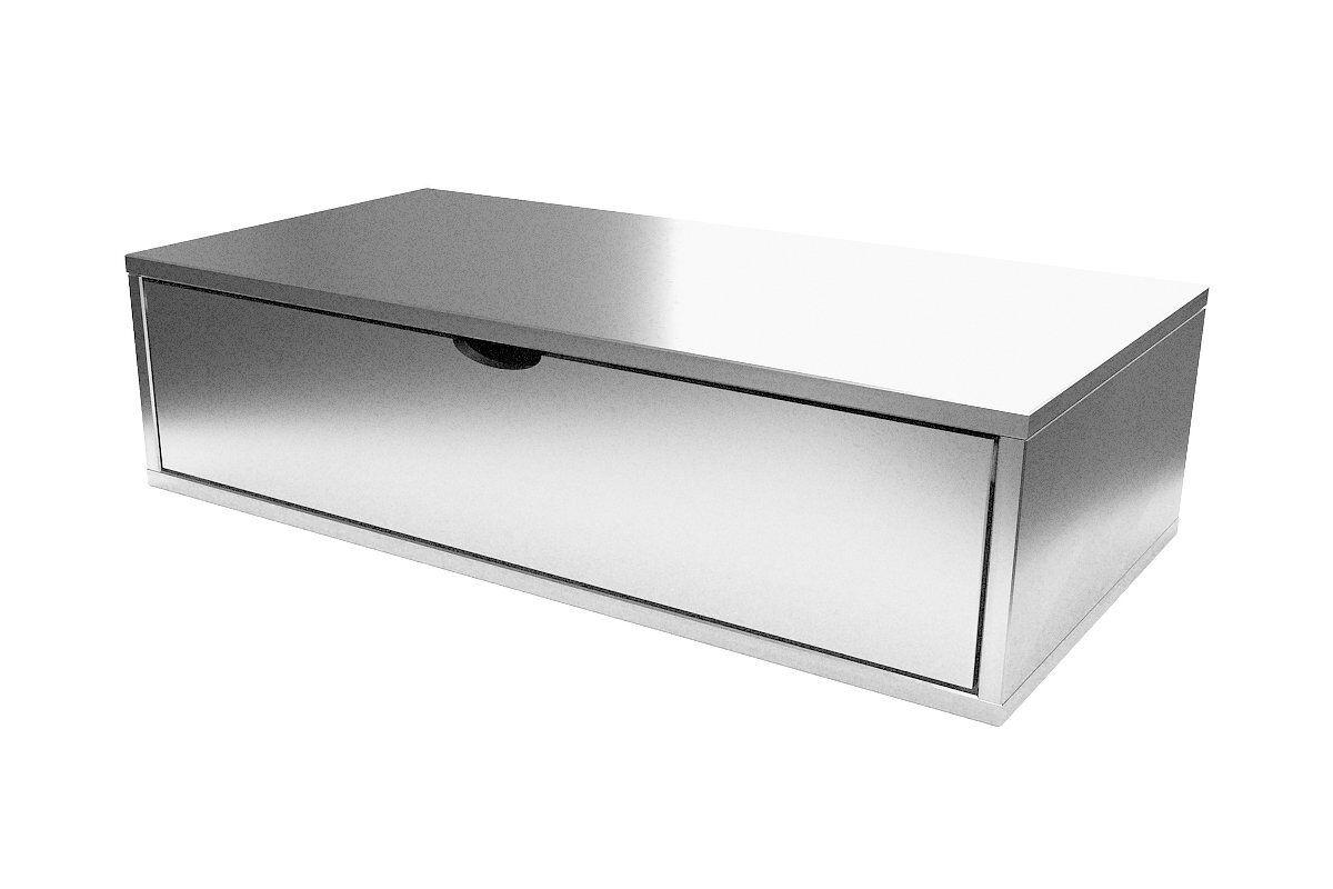 Abc meubles - cube de rangement 100x50 cm + tiroir gris aluminium