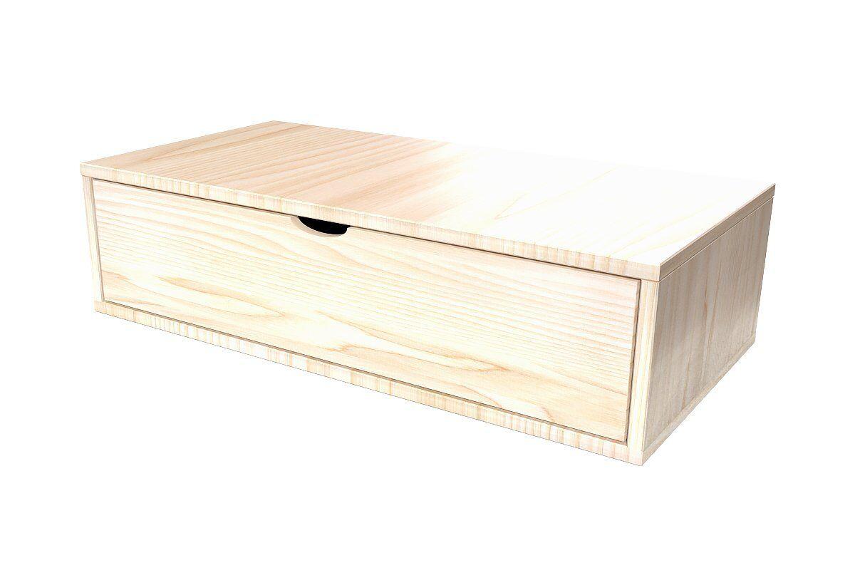 Abc meubles - cube de rangement 100x50 cm + tiroir vernis naturel