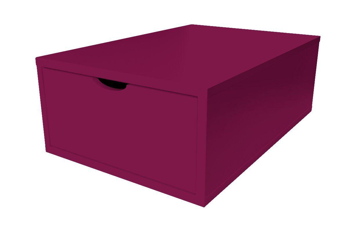 ABC MEUBLES Cube de rangement 75x50 cm + tiroir Bois - / - Prune