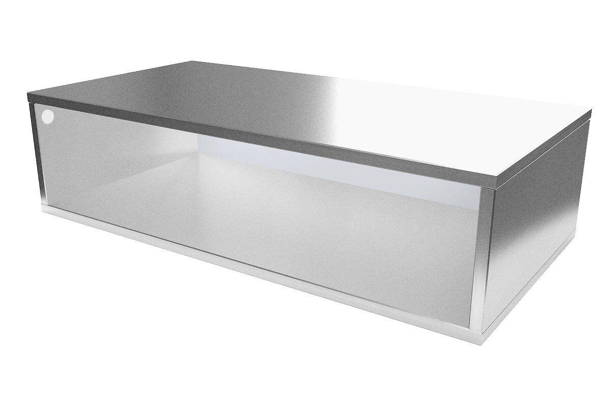 Abc meubles - cube de rangement 100x50 cm bois gris aluminium